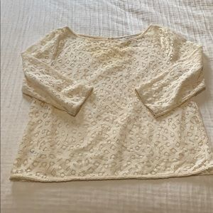 LOFT CREAM LACE 3/4 SLEEVE TOP